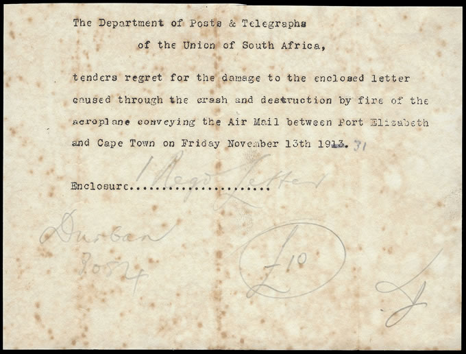 SOUTH AFRICA 1931 SIR LOWRYS PASS CRASH, 1ST SA AIRMAIL DISASTER