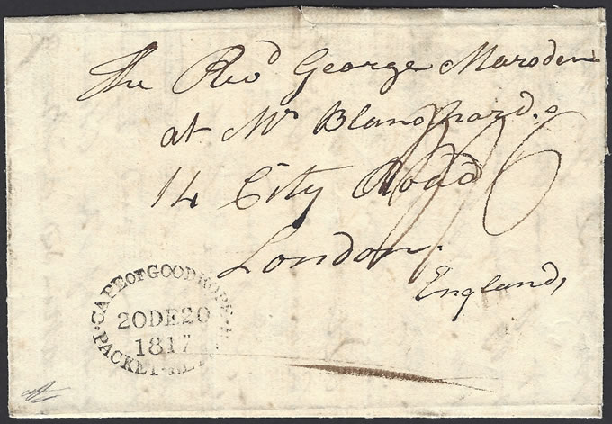 CAPE OF GOOD HOPE 1817 PACKET LETTER OVAL DATESTAMP, RARE