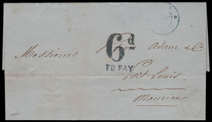 MAURITIUS 1868 TAXED ENTIRE LETTER FROM REUNION ISLAND