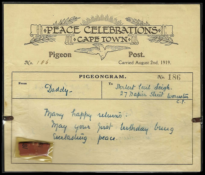South Africa 1919 South Africa Peace Celebrations Pigeongram