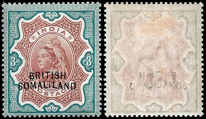 SOMALILAND 1903 QV 3R CURVED OVERPRINT VF/M WITH CERT, RARE!