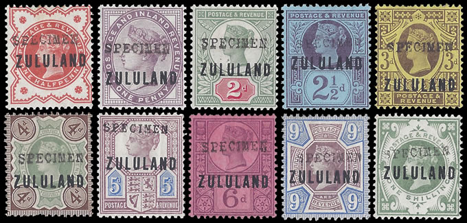 Zululand 1888 ½d - 1/- GB9 Somerset House Specimens