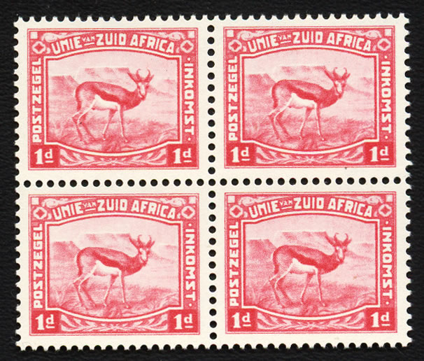 SOUTH AFRICA 1923 HARRISON ESSAYS 1D PERF, CARMINE, BLOCK