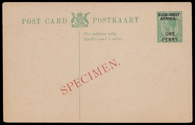 South West Africa 1923 KGV ½d Postcard Specimen