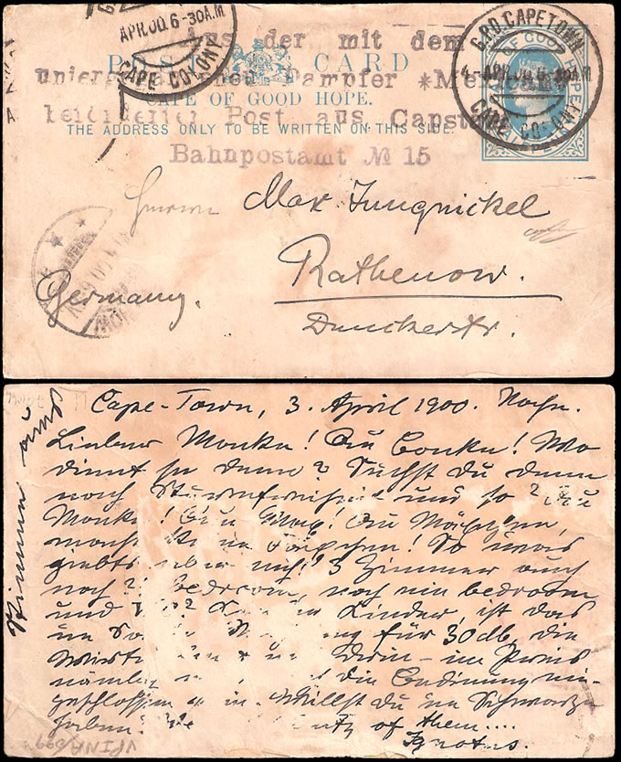 CAPE OF GOOD HOPE 1900 RARE MEXICAN WRECK GERMAN CACHET