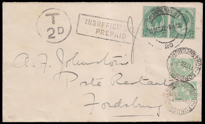 South Africa Postage Due 1911 Cigarette Labels as Provisionals