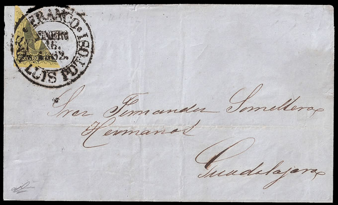 MEXICO 1862 RARE DIAGONAL BISECT ON LETTER