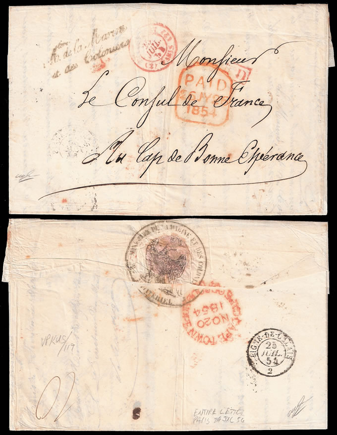 FRANCE 1854 ENTIRE TO CAPE OF GOOD HOPE