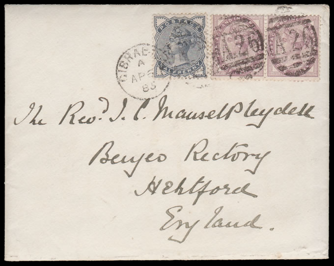 GIBRALTAR 1885 GB USED IN: A26 DUPLEX ON OFFICER'S LETTER