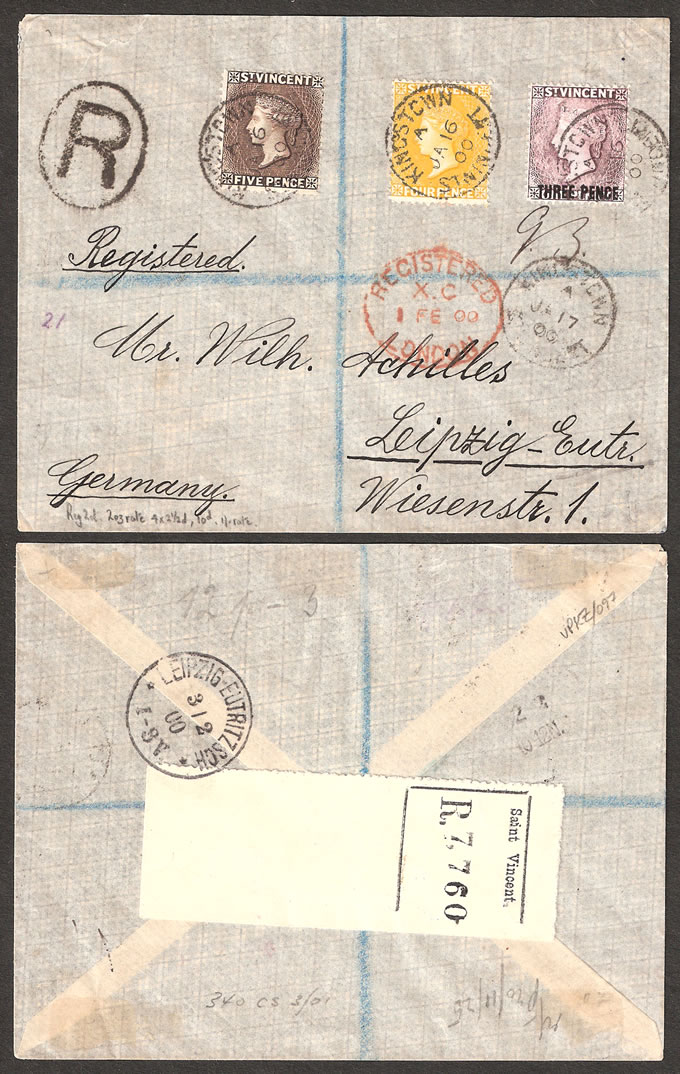 SAINT VINCENT 1900 1/- RATE REGISTERED LETTER
