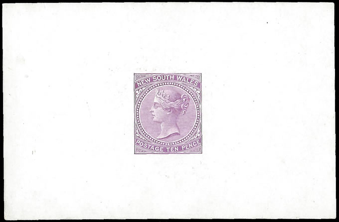 NEW SOUTH WALES 1867 QV 10D DE LA RUE SAMPLE COLOUR DIE PROOF