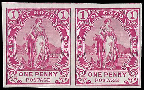 CAPE OF GOOD HOPE 1893 1D IMPERF PLATE PROOF PAIR, RARE