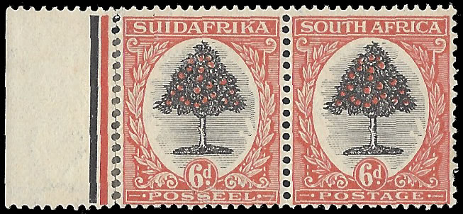 SOUTH AFRICA 1926 6D COLOUR TRIAL PLATE PROOF PAIR, PERF'D