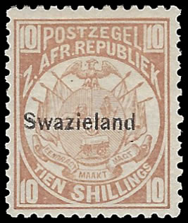 Swaziland 1889 10/- Dull Chestnut VF/M with Cert - Rarity!