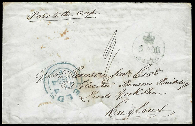 Natal 1854 Crown Over Natal Datestamp Letter Paid to Cape
