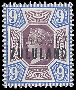 Zululand 1888 9d GB9 Somerset House Specimen