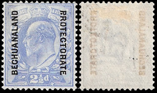 "BECHUANALAND 1904 2½D, STOP AFTER ""P"" IN ""PROTECTORATE"","