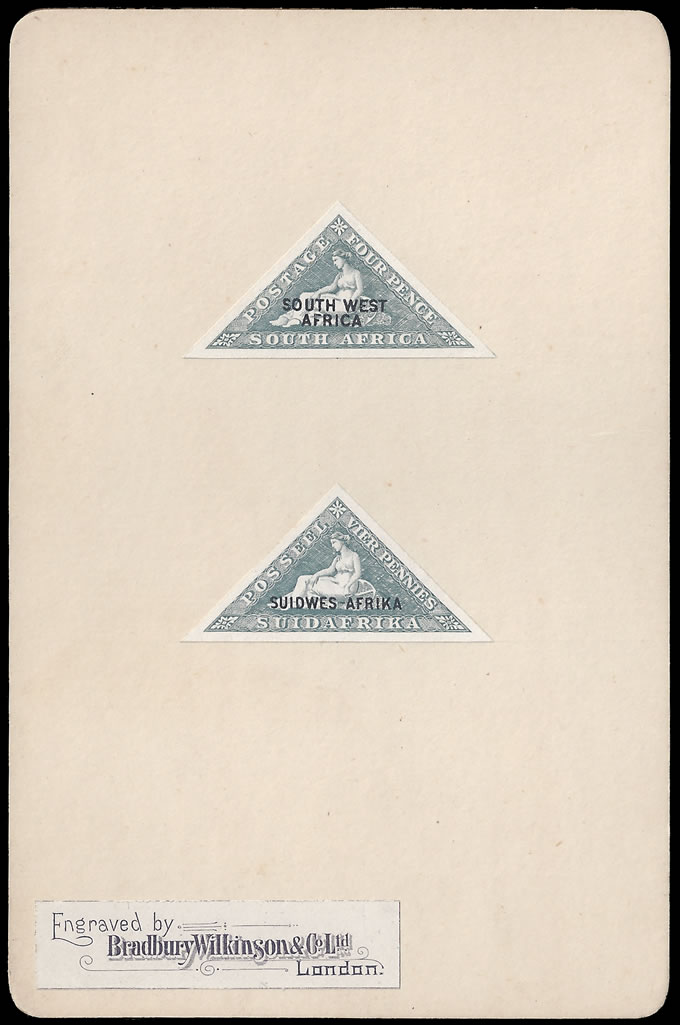South West Africa 1926 4d Triangular Proofs on Bradbury Card