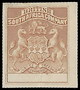 Rhodesia 1895 Arms Imperf Plate Proof, Blank Value Tablet