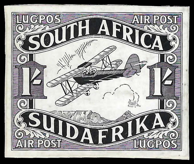 "South Africa 1929 Airmails 1/- ""Paste-Up"" Die Proof, 4 Known"