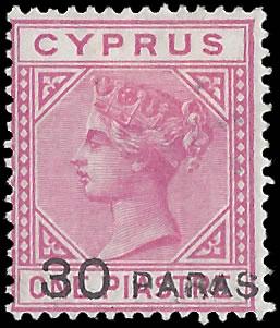 CYPRUS 1882 30PA PROVISIONAL RARE MINT