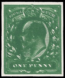 GREAT BRITAIN 1902 KEVII 1D IMPERF PLATE PROOF, DOUBLE PRINT