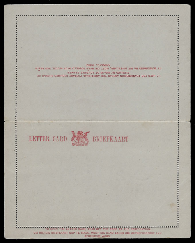 SOUTH AFRICA 1930 LETTER CARD PROOF WITHOUT VALUE/DUTY