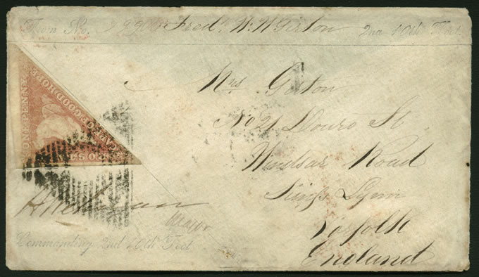 Cape of Good Hope 1863 1d Triangle on Soldiers Letter