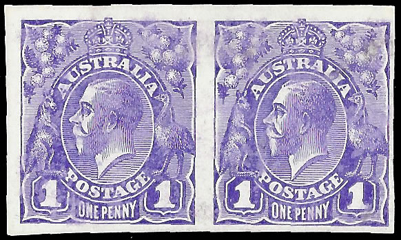 AUSTRALIA 1914 KGV 1D IMPERF PLATE PROOFS BRIGHT VIOLET