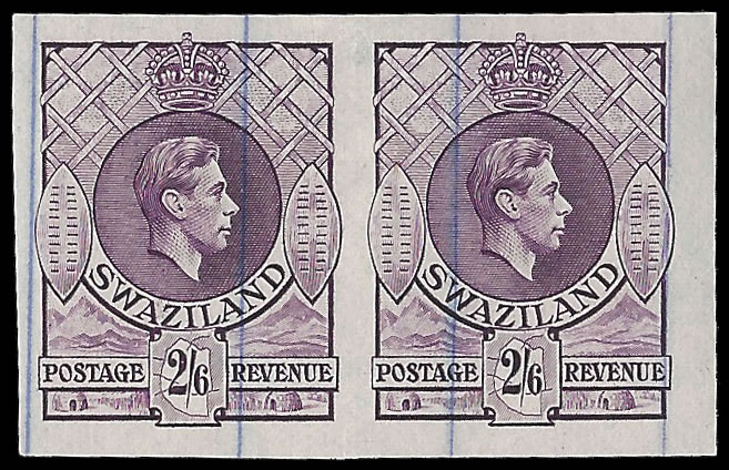 SWAZILAND 1938 KGVI 2/6 IMPERF PRINTER'S WORKING PLATE PROOFS