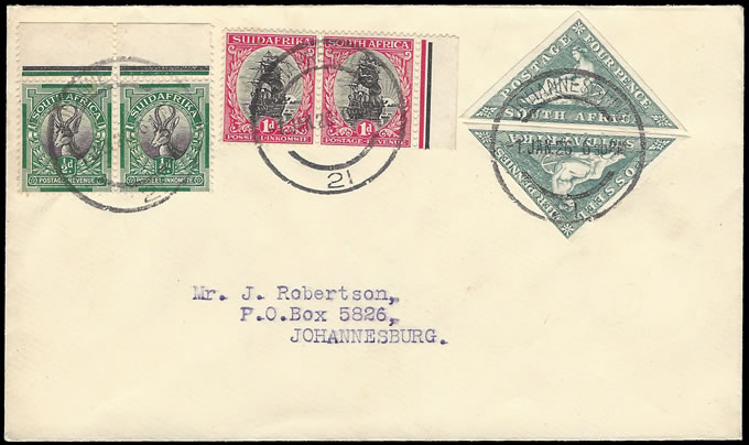 SOUTH AFRICA 1926 LONDON ½D & 1D WITH 4D TRIANGLE FDC