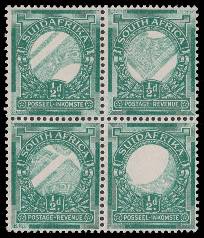 SOUTH AFRICA 1926 ½D CENTRES OMITTED, DIAGONAL OFFSETS