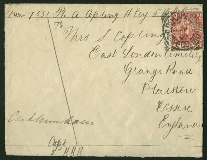 Cape of Good Hope 1897 Soldiers Letter, 1d Rate