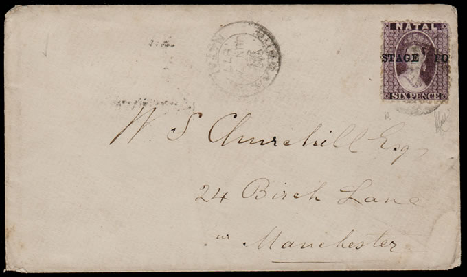 NATAL 1877 MISPLACED POSTAGE OVERPRINT ON COVER