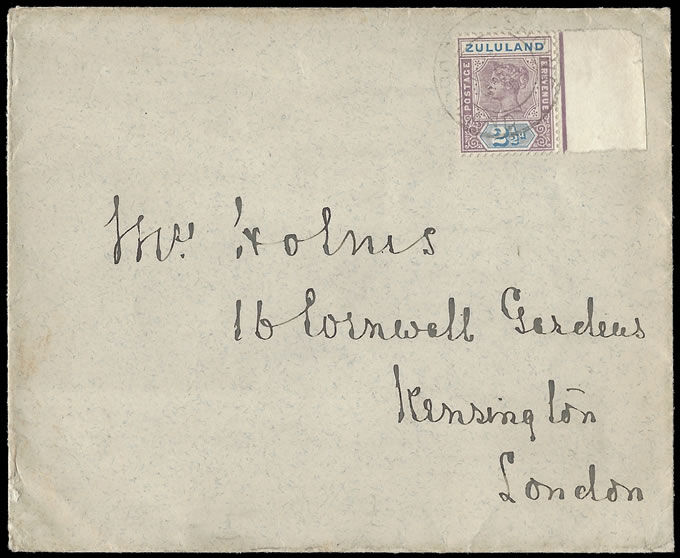 Zululand 1896 Government Stationery Envelope at 2½d Rate to UK