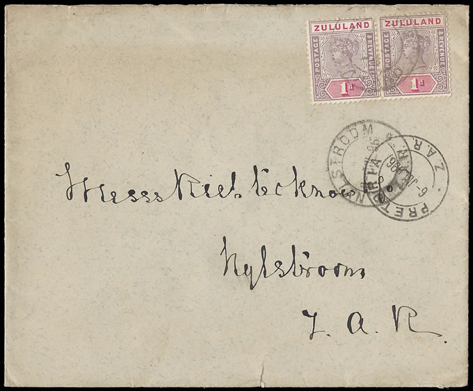 Zululand 1896 Government Stationery Envelope at 2d Rate to ZAR