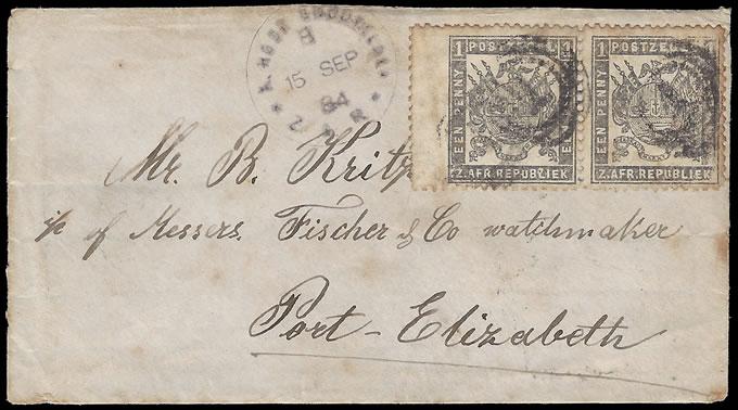 TRANSVAAL 1884 K(AAPSCHE) GOUDVELDEN LETTER TO PORT ELIZABETH