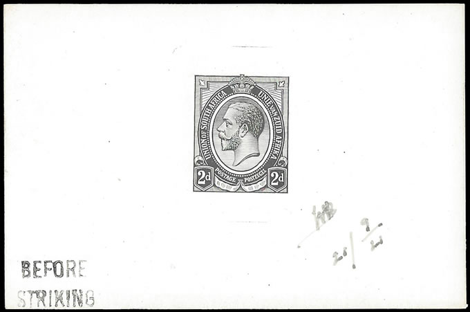 SOUTH AFRICA 1913 KGV 2D DIE PROOF BEFORE STRIKING FROM '21 PLAT