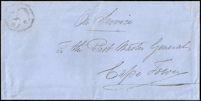 CAPE OF GOOD HOPE 1850 OCTAGONAL 39 ON WRAPPER, RARE