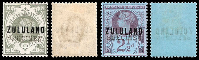 Zululand 1888 2½d & 1/- GB9 Somerset House Specimens