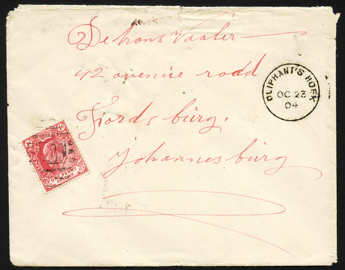 CAPE OF GOOD HOPE 1904 OLIPHANT'S HOEK NUMERAL PROVING COVER