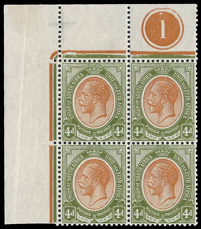 South Africa 1913 KGV 4d Plate Block Co-Extensive Jubilee, Rare