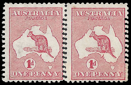 AUSTRALIA 1913 KANGAROO 1D DOUBLE PERFORATION PAIR