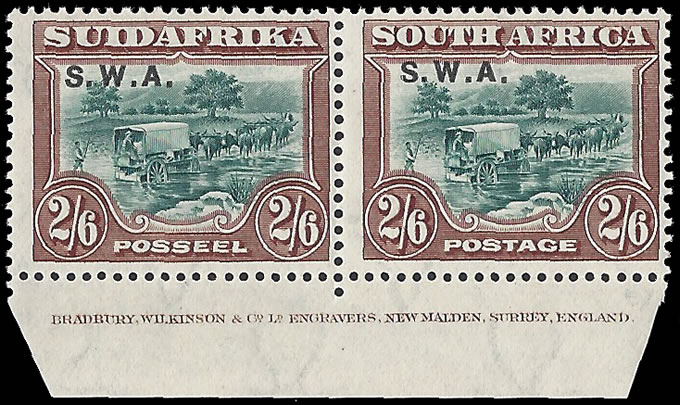 SOUTH WEST AFRICA 1927 2/6 IMPRINT PAIR SUPERB M