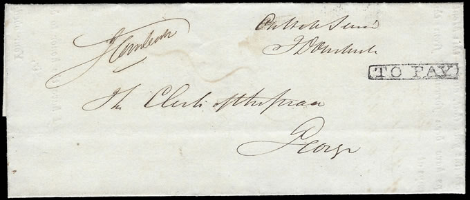 CAPE OF GOOD HOPE 1844 OFFICIAL MAIL FROM STAMP OFFICE TO GEORGE