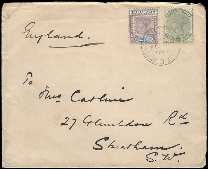 NATAL 1900 NATAL/ZULULAND COMBINATION FRANKING TO ENGLAND
