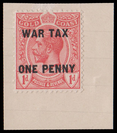 Gold Coast 1918 War Tax 1d ex Tunisian Receiving Authority