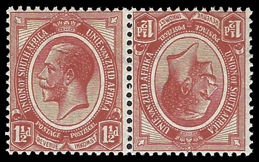 South Africa 1913 KGV 1½d Tete-Beche Pair UM