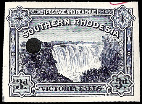Southern Rhodesia 1935 3d Falls Imperf Proof