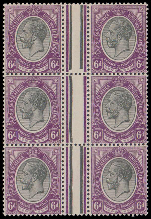 South Africa 1913 6d Variety Missing Jubilee Line in Block